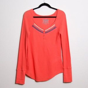 Free People Embellished Waffle Knit Henley Coral L